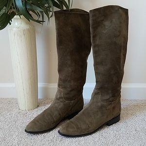 🍀J Crew Suede Leather Tall Low Heel Boots 🍀